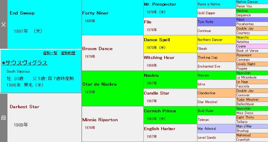 サウスヴィグラスの血統表