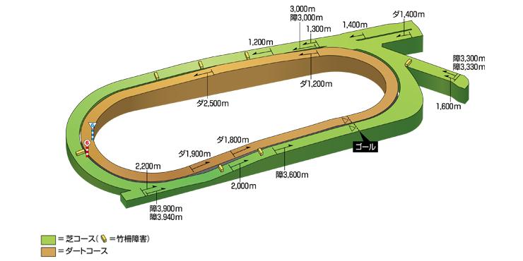 中京競馬場のコース立体図
