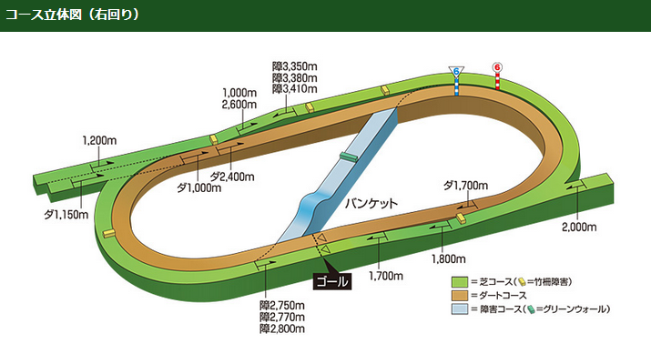 福島競馬場のコース図